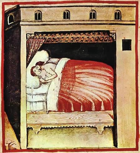 Escena íntima a Tacuinum Sanitatis, manuscrit del segle XIV