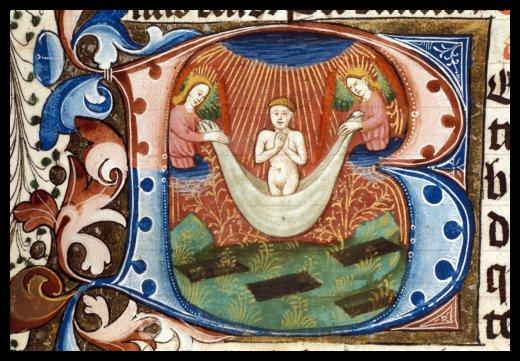 """Detall d'una """"B"""" historiada: ascensió de l'ànima per dos àngels; a Les Hores del comte d'Ormond; c. 1460-1467. British Library f.97v"""