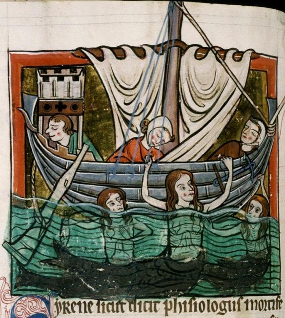 Tres sirenes adormint als mariners amb la seva cançó i preparant-se per atacar-los.  Bodleian Library, MS. Bodley 764, Folio 74v