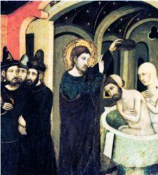 Bateig d'una jueva i d'un jueu, detall del retaule de sant Marc, catedral de Manresa. S. XV (fotografia de Ramon Manent)