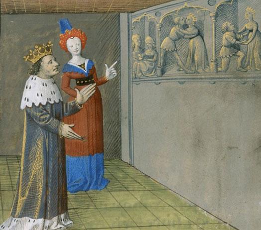 El rei Artús amb la fada Morgana descobrint l'adulteri de la reina Ginebra amb el cavaller Lancelot. La mort del rei Artús. Centre de França (Ahun), c.1470. Bnf, Mss, Fr.116 f. 688v